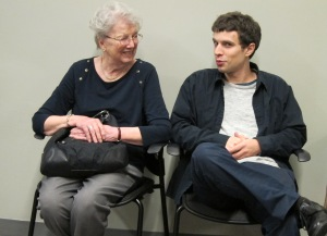 The author's mother, Eileen Martorelli, and nephew, Josh Kantrowitz, enjoy the event.